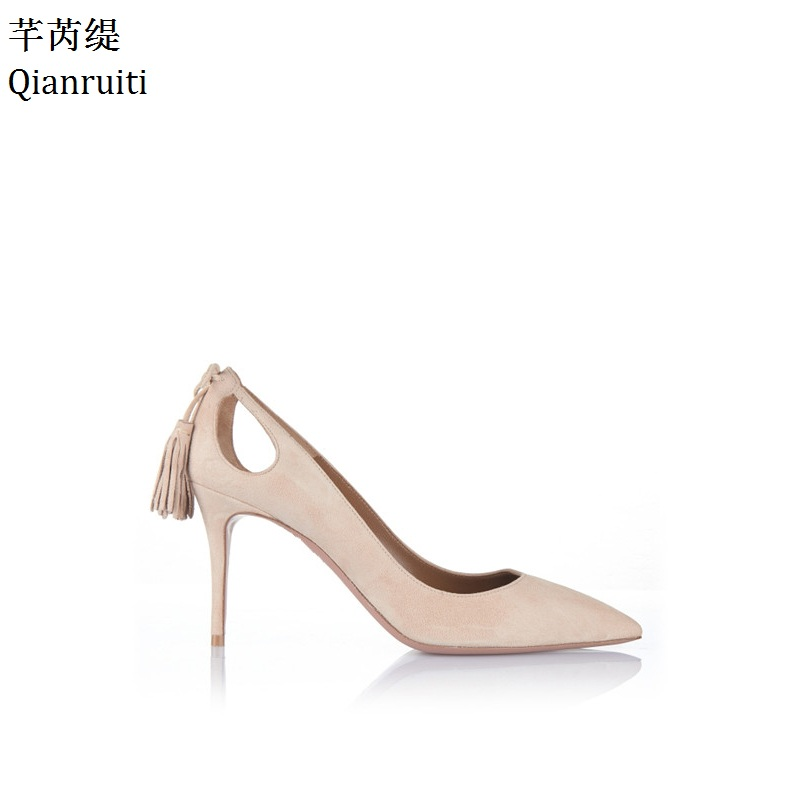 Qianruiti Beige Suede Fringe Heels Women Shoes Sexy Pointed Toe Women Pumps Kim Kardashian Style High Heels Bridal Wedding Shoes
