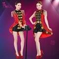 Moda Femenina Trajes de Danza Moderna Jazz Bar Discoteca Representaciones Teatrales de Lentejuelas Negro Y Rojo Mujeres Sexy Delgado Traje Cantante