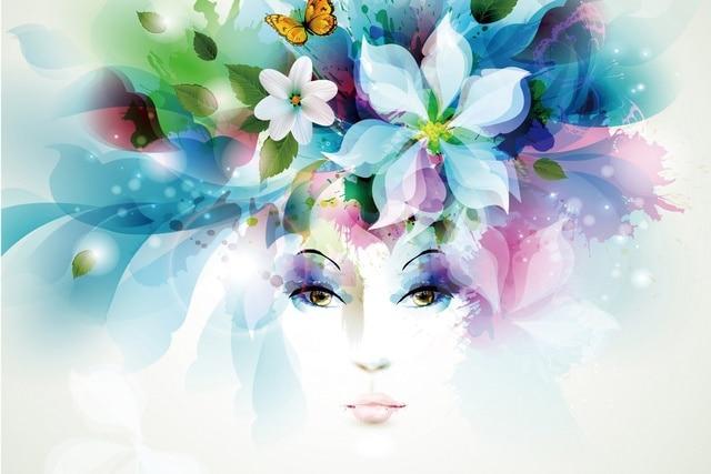Arte chica ojos flores pétalos mariposa hojas aerosol dibujo retrato ...