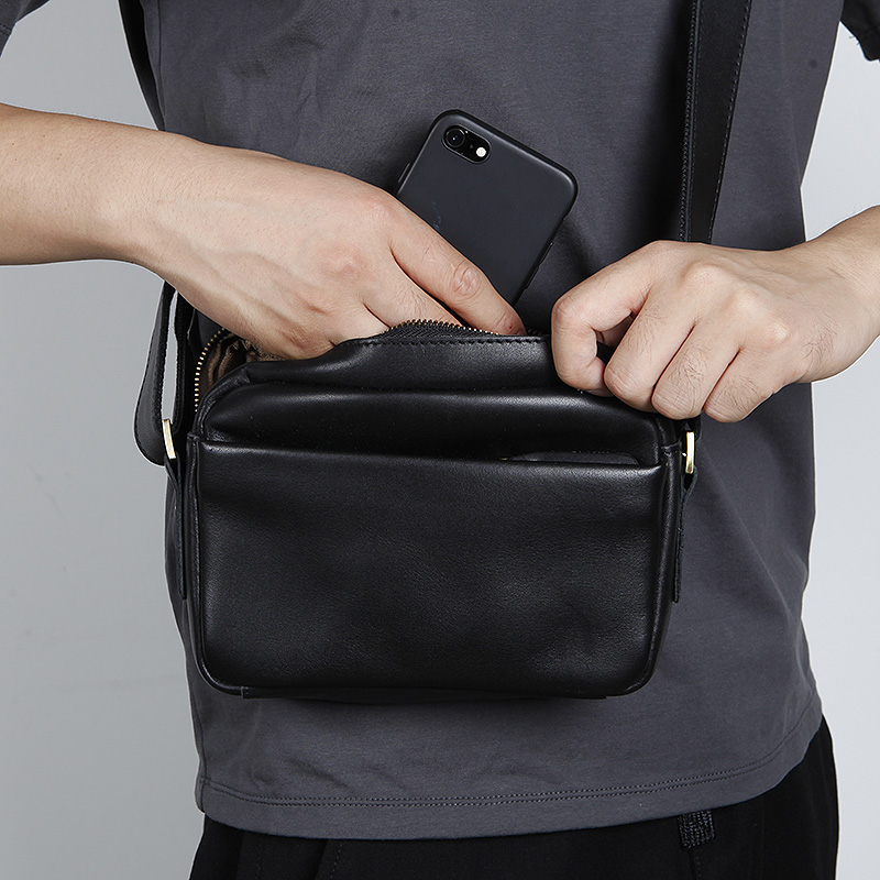 LANSPACE  men's leather shoulder bag genuine leather small bag men's messenger bag single shoulder bag