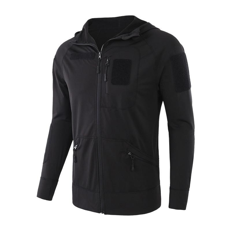 Spring autumn men's thin fleece sweater hoodie coat men pocket zipper cardigan hooded jacket tops Tactical Camping hiking Sport fleece zipper fly hoodie