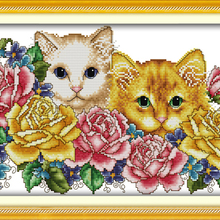 Two cats in flowers(2) Animal cross stitch kits 14ct white 1