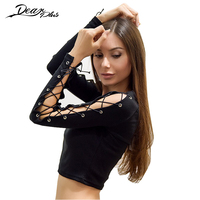 Sexy Lace Up Hollow Out Sleeve Crop Top Women Black Sexy T Shirts Long Sleeve Slim