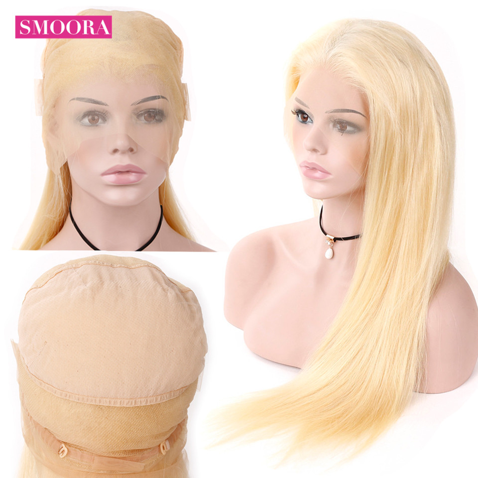 Smoora 613 Full Lace Wigs Human Hair with Baby Hair Brazilian Straight Non Remy Pre Plucked Blonde Full Lace Wigs For Women 150% image