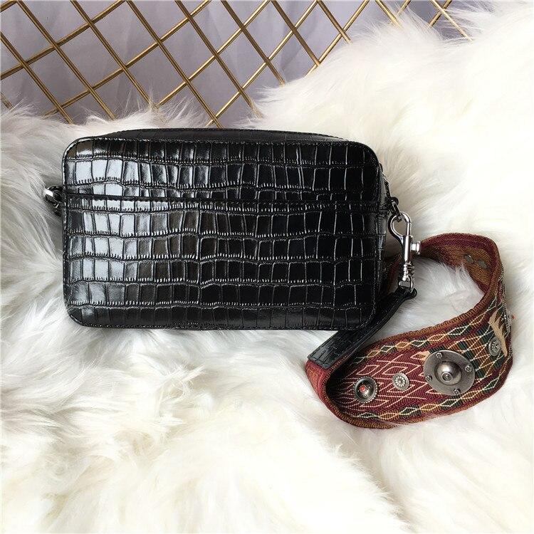 Bags for Women 2019  Crocodile Pattern Leather Lady Bag with Wide Shoulder Strap Single Shoulder and Oblique Span Square Bag
