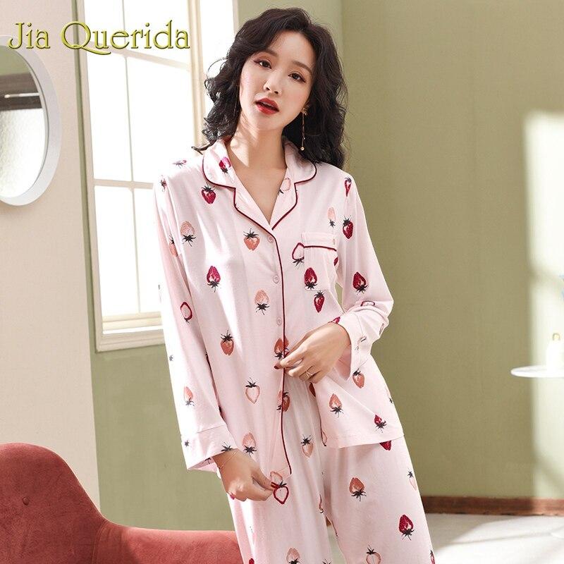 J&Q Pijama Mujer 2019 Spring New Lounge Wear Women 100% Cotton Plus Size Home Clothes Strawberry Printing 2pcs Female   Pajama     Set
