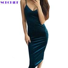 Women's dress Women Sexy Velvet Dress
