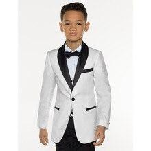 Kuson branco menino terno conjunto crianças menino ternos para casamentos ternos de formatura crianças vestido formal para meninos crianças smoking (jaqueta + calças + colete)