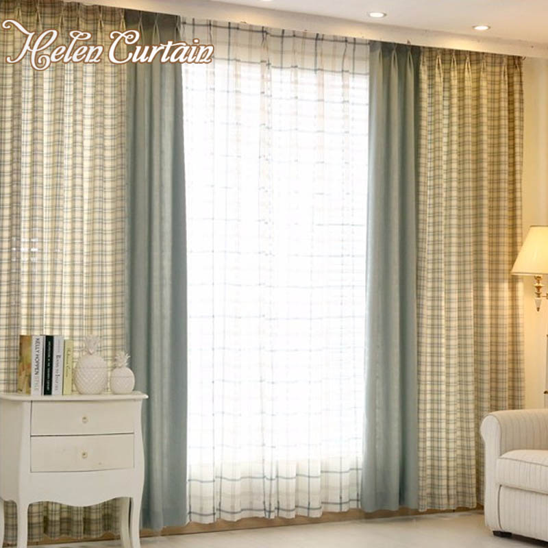 Buy Helen Curtain 100 Cotton American Style Plaid Splice Green Curtains For