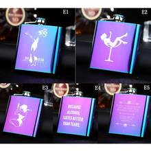 1PC Portable Hip flask 6 oz Flat Pot Bottle Vodka Magic Color Stainless Steel Flask English Painting Girl Gift
