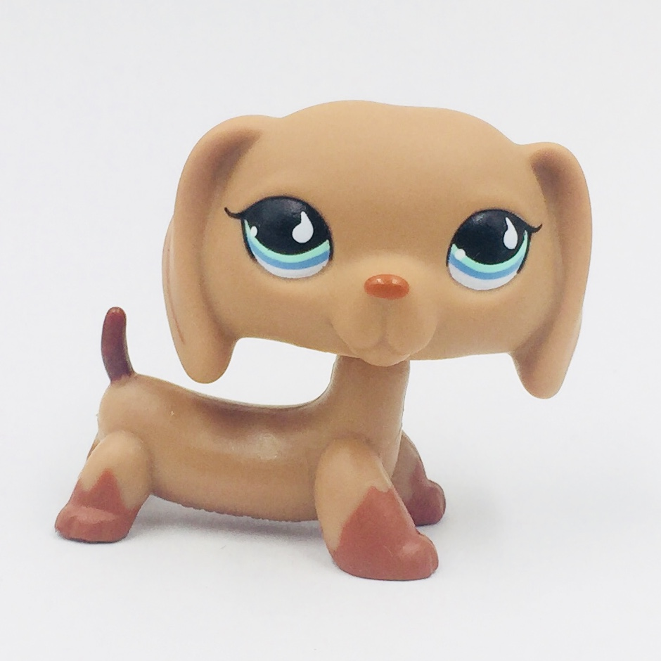 rear rare Animal pet shop lps toys DACHSHUND #518 cute little brown sausage dog blue eyes toy for kids Holiday gifts pet shop toys dachshund 932 bronw sausage dog star pink eyes