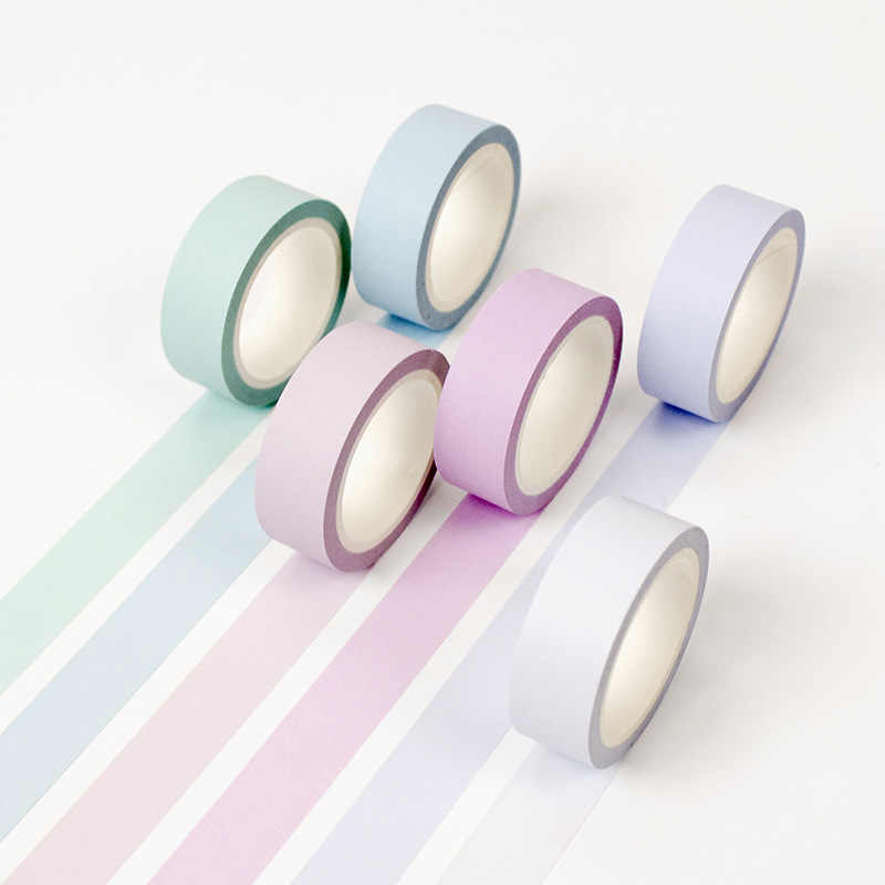 12 Kleur Zachte Kleur Papier Washi Tape 15 Mm * 8 M Pure Masking Tapes Decoratieve Stickers Diy Briefpapier School levert