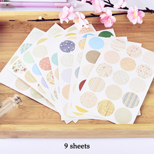 9 sheets cute round colorful design sticker as Gift Tag gift Decoration scrapbooking DIY Sticker