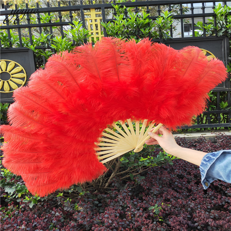 Image 2 - YOYUE 15 Bone Ostrich Feathers Fan Halloween Party Wedding  Celebration Belly Dance Show DIY Decorative Pink Feathers FanFeather