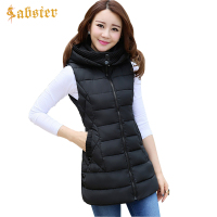 Autumn Winter Vest Women 2017 New Ladies Long Vest Sleeveless Jacket Hooded Warm Slim Waistcoat colete feminino Plus Size L 4XL