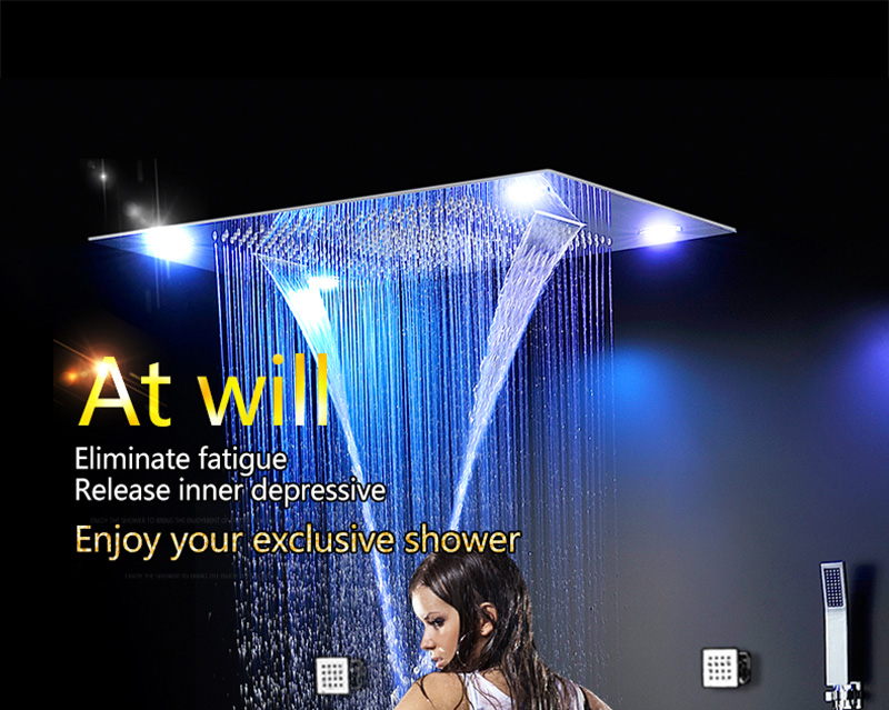 Bathroom Fixture Shower Faucets Ceiling Mounted Waterfall Mist Shower Head Big Rain LED Shower Set High Flow Thermostatic Bath (2)