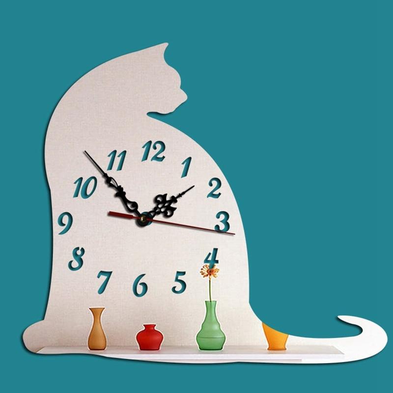 24X21cm Diy Clock Hello Kitchen Watch Wall Mirror Clock Watch Mural Sticker Wall Clocks With Clocks Cat Nursery Room Quartz D