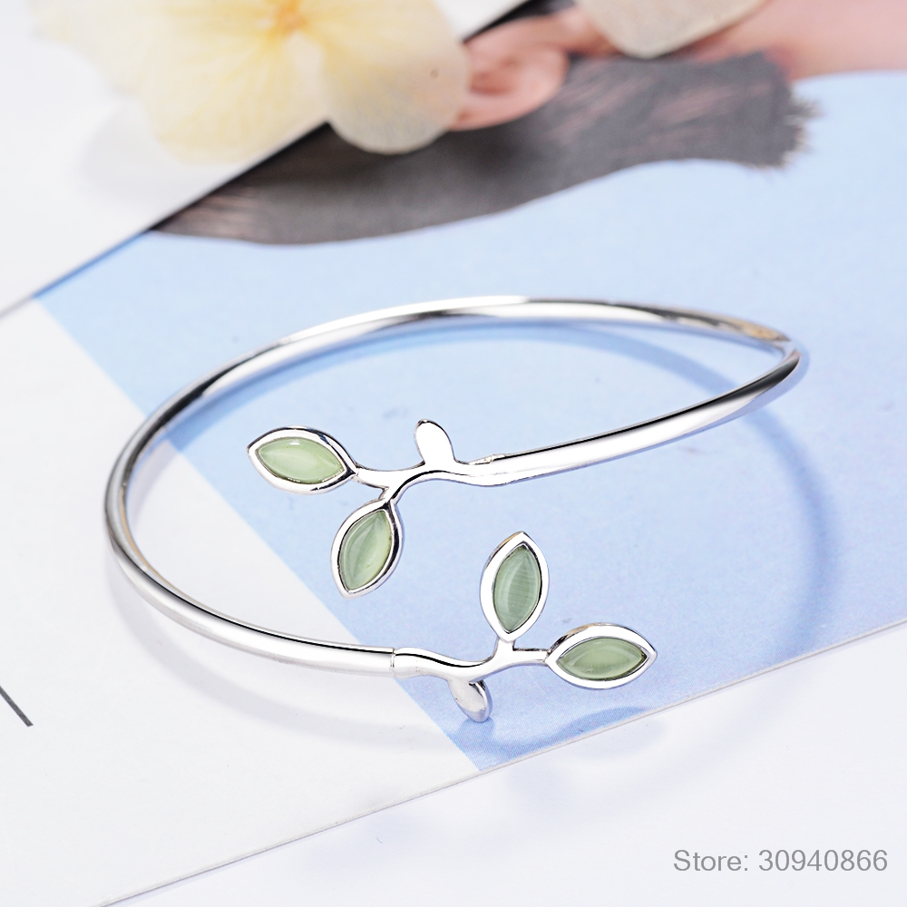 New Beautiful Sprout Exquisite Korean Style Fashion 925 Sterling Silver Jewelry Bracelets Literary Leaves Crystal Bangles SB140