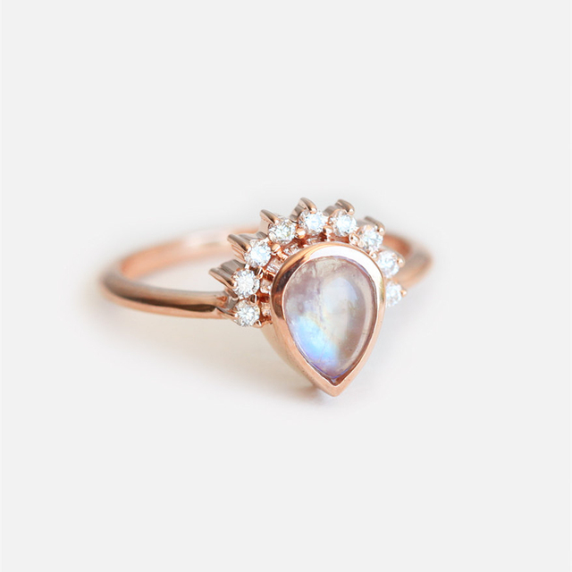 rings for women 18k solid gold band 075ct pear moonstone engagement ring female wedding bands - Moonstone Wedding Rings