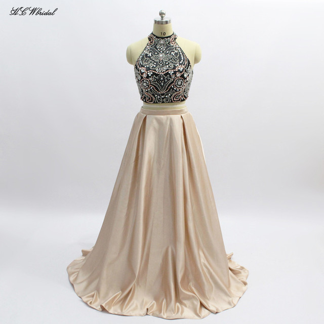 331a6cd0654 Exquisite Beaded Crystals 2 Piece Prom Dresses High Neck Backless Black  Champagne Satin Long Evening Gowns Robe De Soiree Cheap
