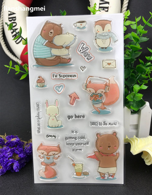 Fox bear Transparent Clear Silicone Stamp/Seal for DIY scrapbooking/photo album Decorative clear stamp