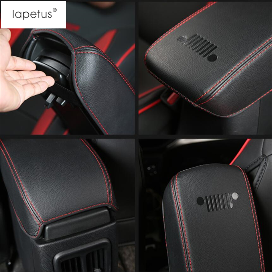 Lapetus Accessories Fit For Jeep Compass 2017 - 2020 Center Console Seat Armrest Box Protection Pad Molding Cover Kit Trim