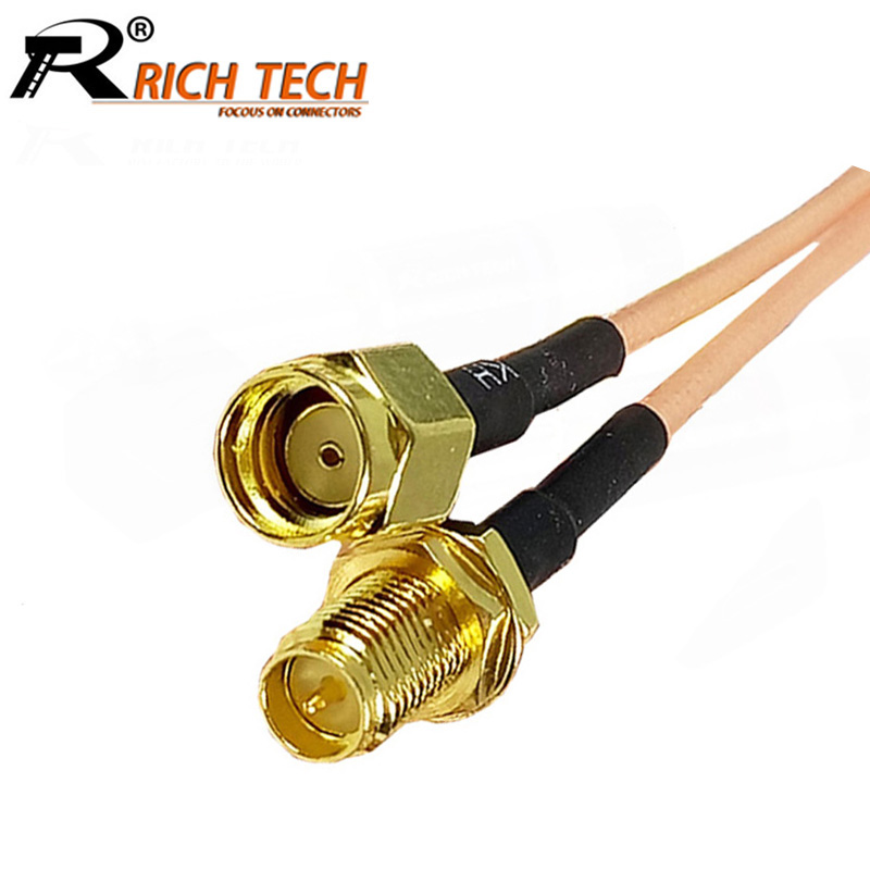 1Pcs RP SMA Male to RP SMA Female Jack RF Coaxial Bulkhead Crimp Connector RG316 Coax Cable Jumper Pigtail 5CM 10CM 15CM 20CM jx rf coaxial cable sma male to sma female connector for rg316 pigtail cable 5cm 5m for 3g 4g antenna extension cord