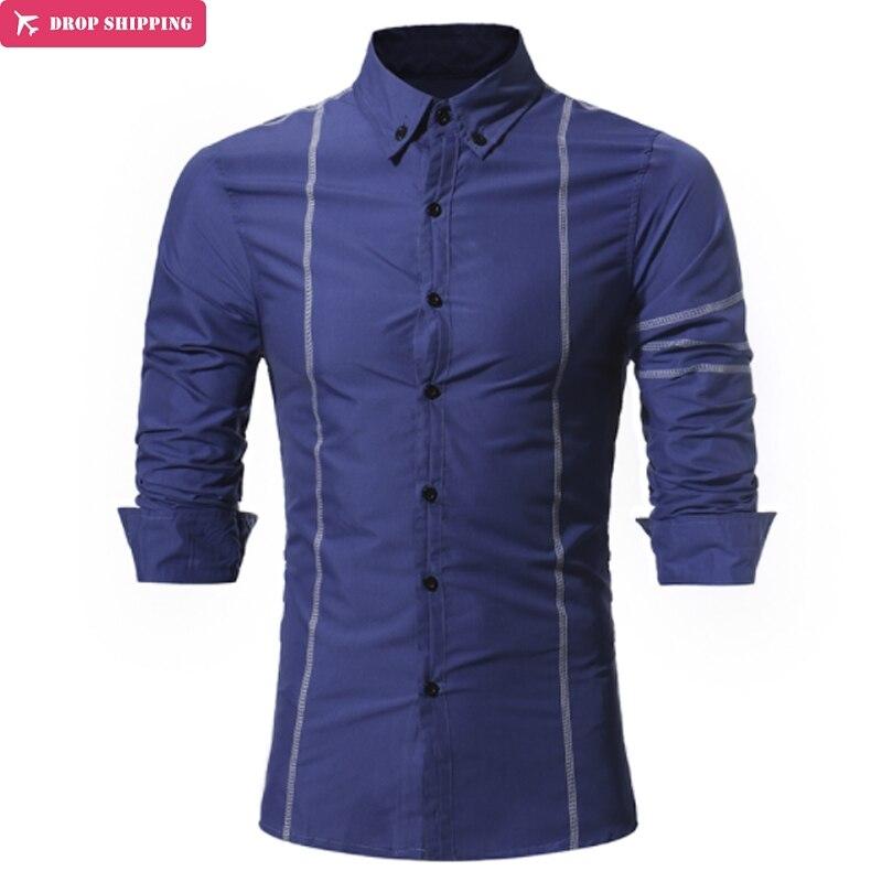 Brand Men Shirt High Quality Dress Shirt Long Sleeve Fit Camisa Masculina Casual Male Hawaiian Shirts Mens Size 3XL in Casual Shirts from Men 39 s Clothing