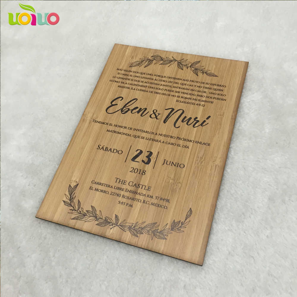 Hot Sale Printing Wooden Wedding Cards Customized Scan Text