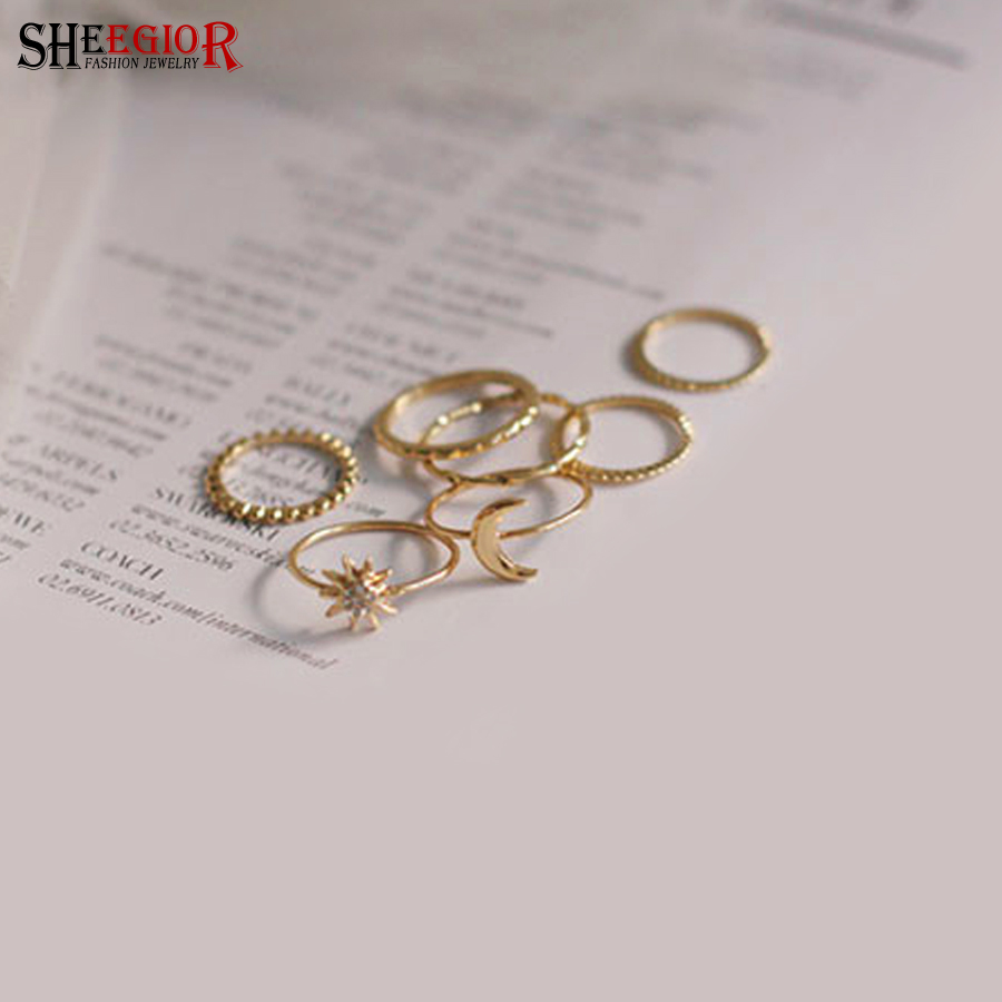 SHEEGIOR Lovely Crystal Gold color Rings for Women Sun/Moon/Flower Ring Men 7pcs/set Rings set Fashion Jewelry Accessories Gifts