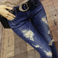 Fashion Women Diamond Drilled Jeans Female Broken Hole Feet Pencil Pants Long Dark Blue Jeans Rhinestone