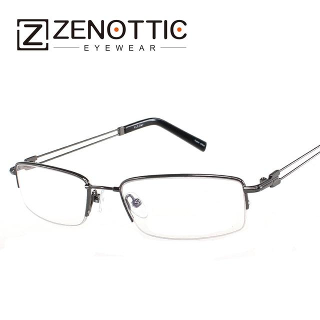 ZENOTTIC 2018 alta calidad moda hombres titanio anteojos de memoria  aleación Eyewear medio borde óptico puente 7aa9586fca