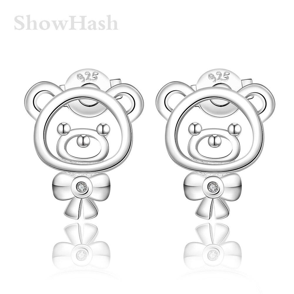 Cheap Silver Plated Cute Little Bear Shape Pushback Zircon Girls Stud  Earrings Party Anniversary