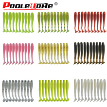 Proleurre 10pcs Fishing Lures T tail Wobblers 45mm 0.7g Swimbaits Synthetic Silicone jig Smooth Bait 10 Coloration Carp baits PR-200