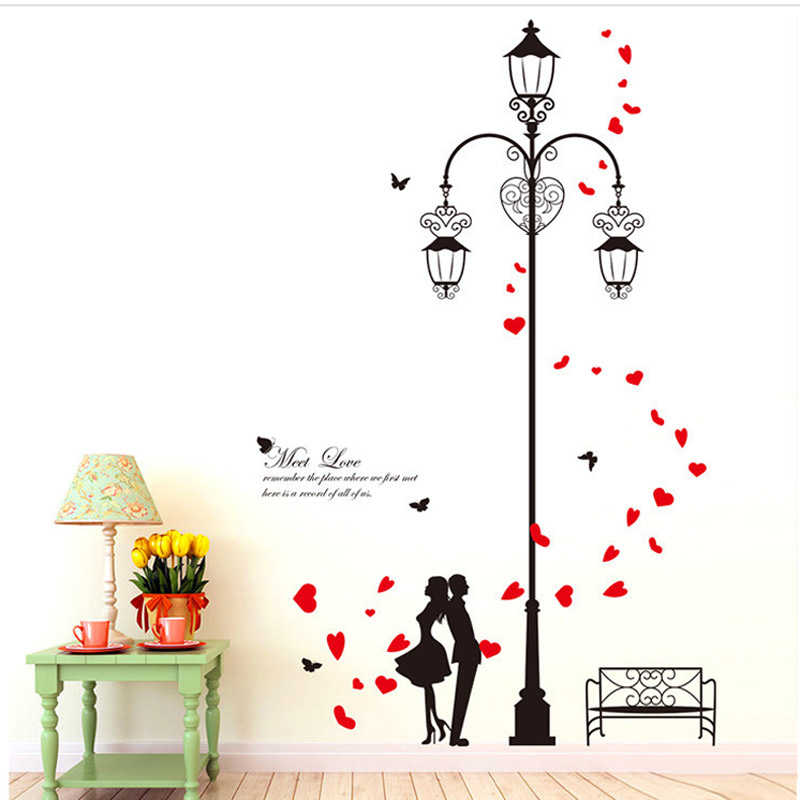 2 Set Lover Meet Sweet Love Under Road Lamp Removable PVC Wall Decals Vinyl  Wall Sticker Black Red Love Heart DLX0137 In Wall Stickers From Home U0026  Garden On ...