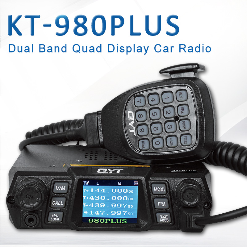 Brand New QYT KT 980Plus Dual Band Quad Display Walkie Talkie For Car Two Way Radio Station With Display Screen