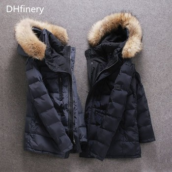DHfinery mens winter down jacket long design 90% white duck down coat Raccoon fur collar down jacket at minus 40 degrees S306