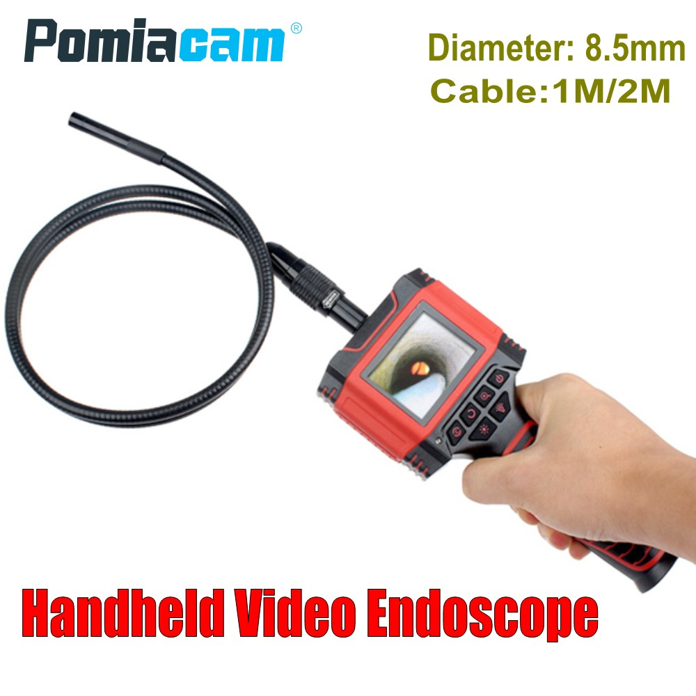 Dia 8 5mm 1M 2M cable Handheld Video Endoscope Borescope camera 99D2 2 3 Color LCD