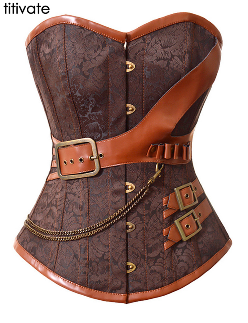 TITIVATE Sexy Waist corsets Brown Overbust Corset Women Steampunk Vestido Corset Vest Sexy Synthetic Leathe Print Corset