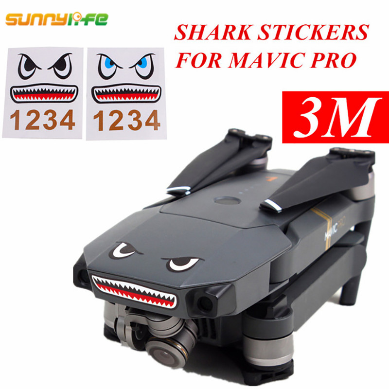 Sunnylife Mavic Air Accessories Spark Sticker Drone Body Shell Decals Skin Mavic Pro Shark Sticker Platinum Aircraft Paster  2
