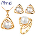 Almei African Beads Rose/White Gold Plated Simulated Pearl Earrings Necklace Rings Jewelry Set for Women Wedding Bridals T265