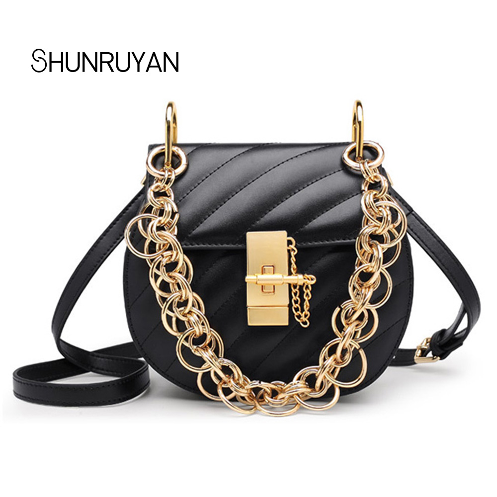 SHUNRUYAN Brand Design Vintage Fashion Genuine Leather chain chic shoulder bag cross body bag star model party bag ladies bag lemon design chain bag