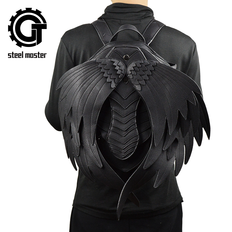 Punk Angel Wing Backpack for Men Women Gothic Black Leather Devil Backpacks Vintage Fashion School Bag Vampire Retro Bags