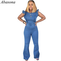 Abasona 2019 Summer Denim Women Overalls Jumpsuits Ruffles Sleeveless Outfit Playsuits Casual Sexy Long Pants Bodycon Rompers