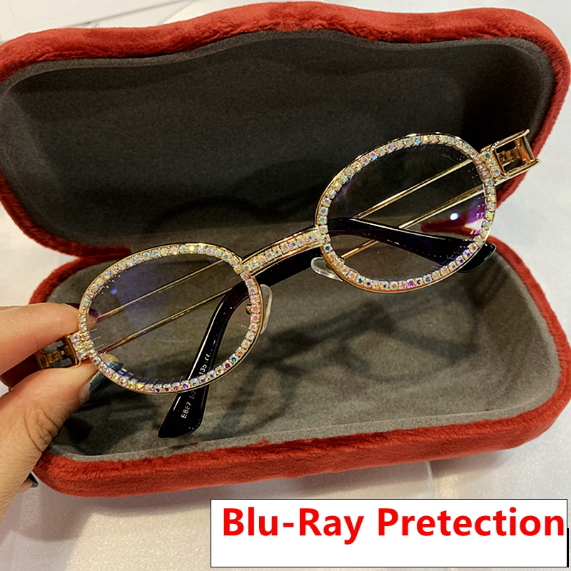 Rhinestone Sunglasses Oculos Clear Vintage Steampunk Blu-Ray Retro Women Lens Pretection