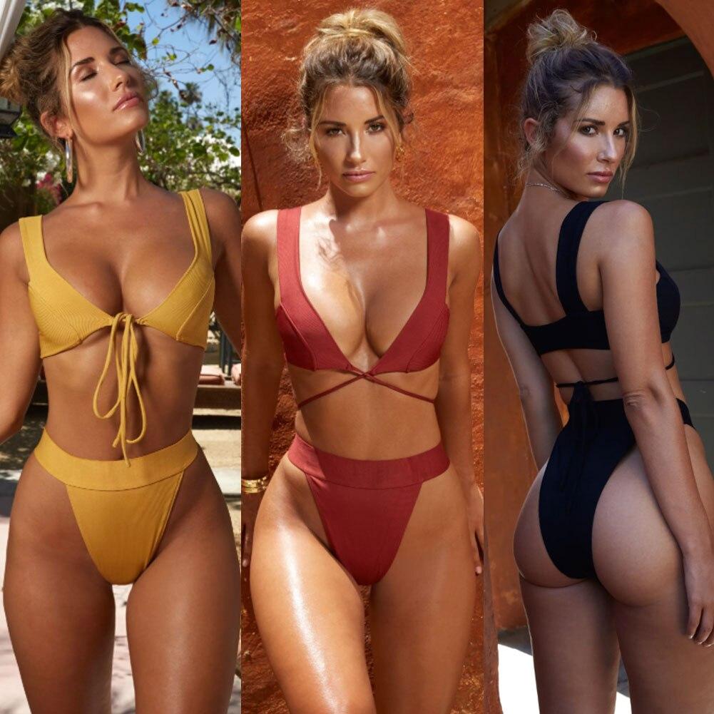 2019 New Style Fashion Hot Solid Women Push-up Bandage Padded Bra Bandage Bikini Set Swimsuit Triangle Swimwear Bathing