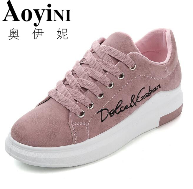 Genuine Leather Women Sneakers Fashion Pink Shoes for Women Lace up White Shoes Creepers Platform Shoes simple pu leather and lace up design sneakers for women