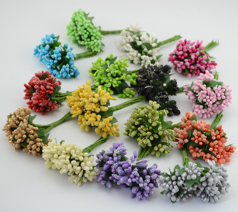12pcs/lot Mulberry party Artificial Flower Wreath material Stamen wire stem/marriage leaves stamen wedding box decoration