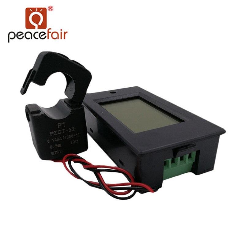 PEACEFAIR monofásico Digital voltímetro amperímetro AC 80-260 V 100A 4IN1 voltios Amper energía vatios con Split CT