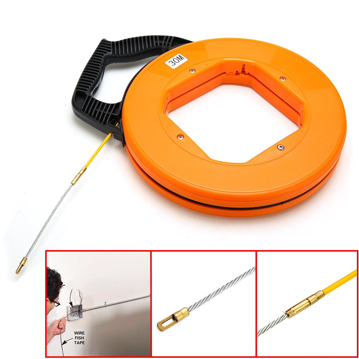 Portable 30 Meter Fiberglass Fish Tape Fishing Tool Reel Puller Conduit Duct Rodder Pulling Wire Cable
